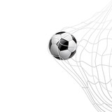 Soccer ball in net. on goal, illustration
