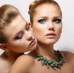 Bonding. Allure. Faces of Two Sensual Women Closeup. Aspiration