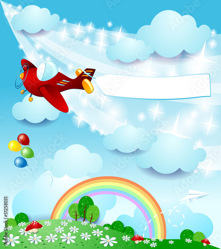 Foto op Canvas Vliegtuigen, ballon Spring landscape with airplane and banner