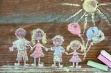 Fototapety Familie gemalt mit Kreide