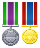 Two metal chest medals and ribbons