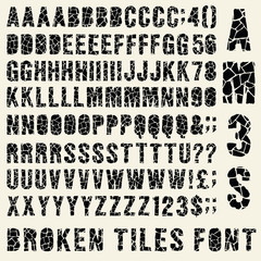 Broken tiles (trencadis) typeset