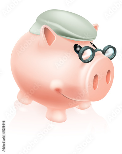 Pension savings piggy bank