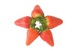 Fresh red strawberries arranged as a star isolated