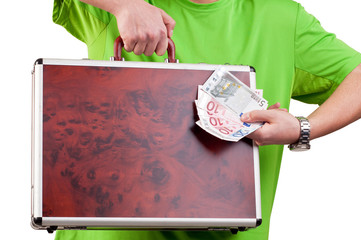 man holding and showing a briefcase and money