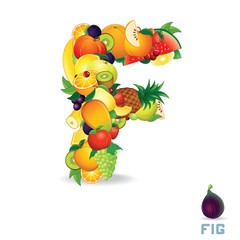 Vector Alphabet From Fruit. Letter F