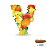 Vector Alphabet From Fruit. Letter Y