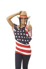 Pretty American girl in hat