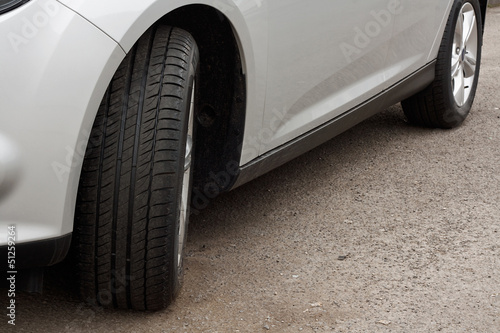 Set of new tyres on a car