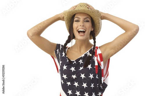 Portrait of laughing American girl