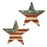 Two stars, American flag themed. Holiday design elements, isolat