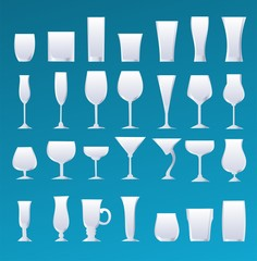alcohol glass icons set