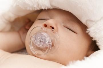 Closeup sleeping adorable baby face