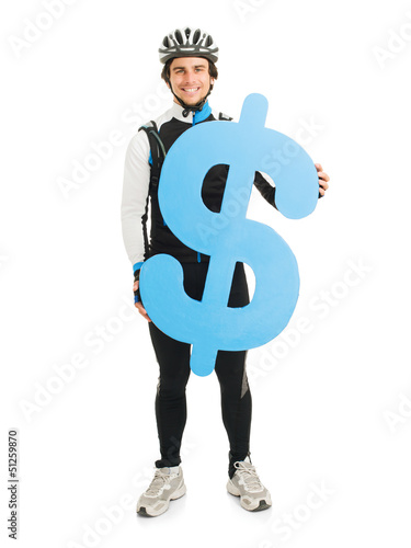 Young Male Cyclist Holding Dollar Sign