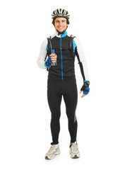 Young Male Cyclist Holding Bottle