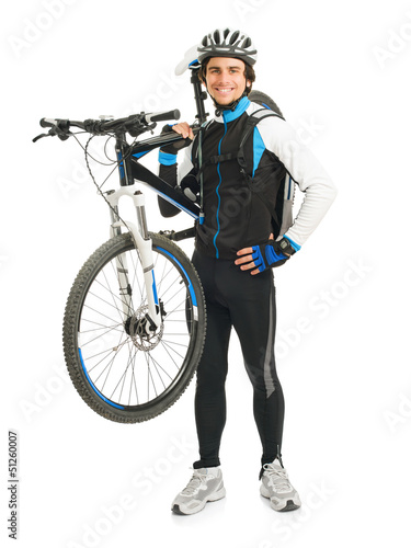 Young Male Cyclist With His Bicycle
