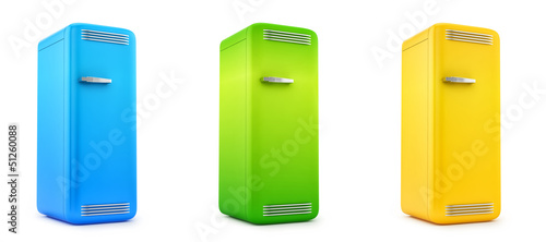 render of retro refrigerators, isolated on white