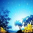 Blue Bright Tropical Landscape-Paesaggio Tropicale Blu-Vector