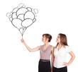 Happy women holding balloons drawing