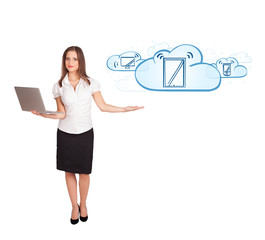young woman presenting modern devices in clouds
