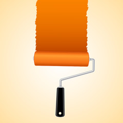 Paint roller brush with orange