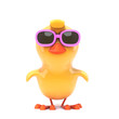 Easter chick in pink sunglasses