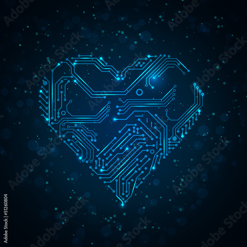 Colorful abstract technology heart. - 51260804