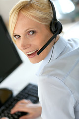 Portrait of beautiful customer service operator