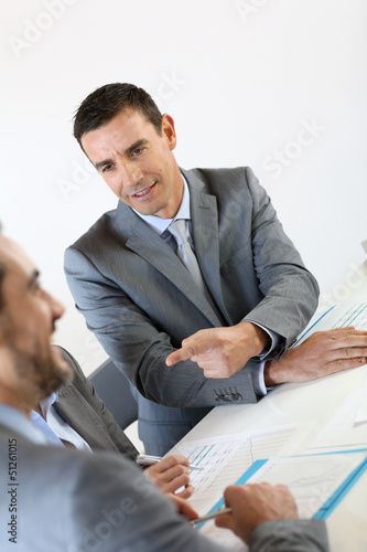 Businessman making marketing presentation