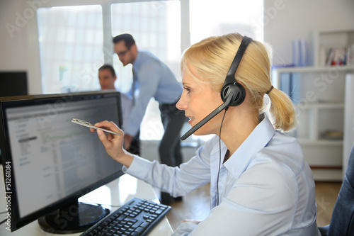 Customer service operator talking on the phone