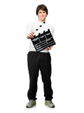 Young Man Holding Clapper Board