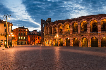 Piazza Bra and Arena, Verona amphitheatre in Italy