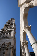 Belltower and arcade on Peristyle in Split, Croatia