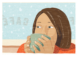 Girl drinking coffee or tea at a cafe