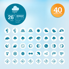 Set of weather icons and widget template