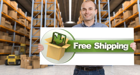 Free shipping, man with sign