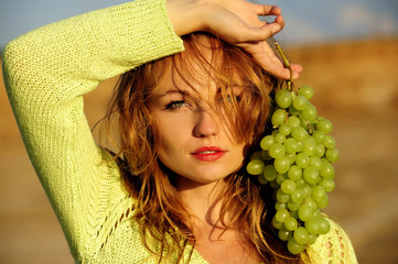 beauty, girl, grapes health, nice, sensuality, young,