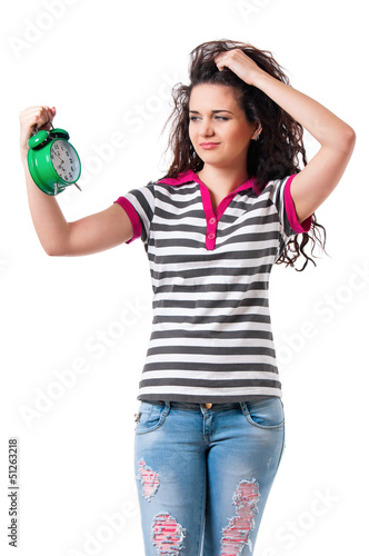 Girl with alarm clock