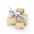 Freight shipping. Plane and a group of boxes on a white backgrou