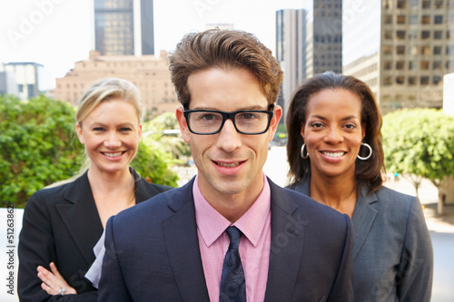 Portrait Of Three Business Colleagues Outside Office