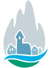 Logodesign eines Bergdorfes – Vektor und freigestellt