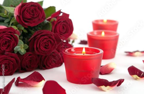 Staande foto Roses Rosen und Kerzen