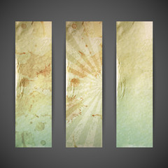 set of vintage banners with grunge cardboard texture