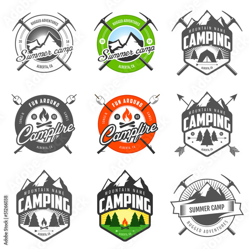 Set of vintage camping labels and badges