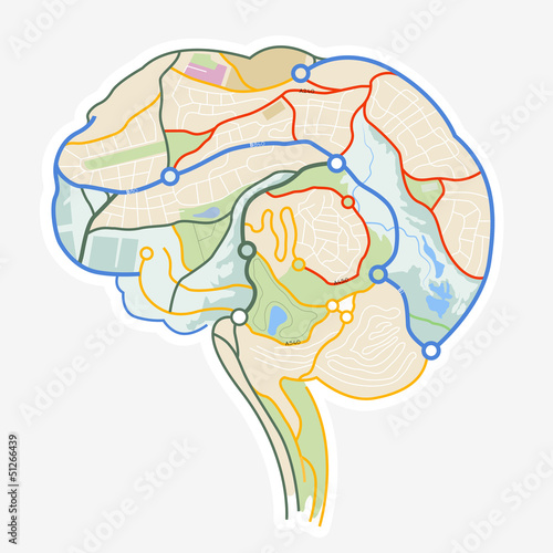 Brain Map. An illustration of a human brain made up from a map.