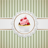 Cupcake with chocolate and pink cream