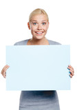 Female keeping huge sheet of white paper, isolated