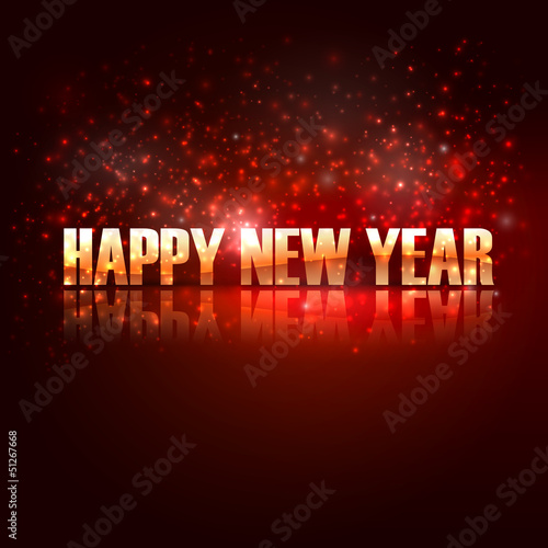 happy new year. holiday background with golden text