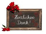 Kreidetafel, rote Rosen, Danke