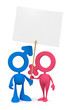 Mars and Venus symbolic cartoon couple with the blank placard
